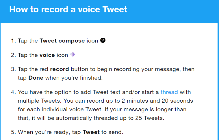 Twitter voice feature